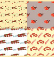 meat products cartoon delicious seamless pattern vector image