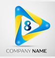 number eight symbol in the colorful triangl vector image