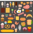 Icons of sweets fast food meat and fish vector image