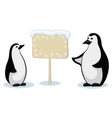 emperor penguins with sign vector image