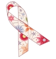 Pink ribbon painted silhouette vintage vector image vector image