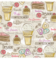 Background with cupcake ice cream cake and cookie vector image