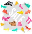 colorful woman footwear sale advertising template vector image