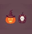 halloween pumpkin with cute face on dark vector image