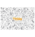 Holiday doodle set with lettering vector image