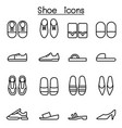 shoes icon set in thin line style vector image