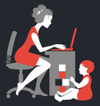 Beautiful silhouette of mother freelancer vector image vector image