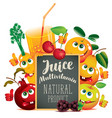 Banner for multivitamin juice with funny fruits vector image