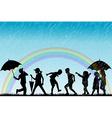 Children silhouettes enjoy the rain vector image vector image