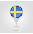 Sweden flag pin map icon vector image