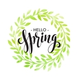 Words Spring with wreath branchesleaves vector image