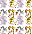 Seamless background with many animals running vector image vector image