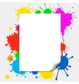blank paper on colored splashes background vector image