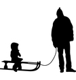 sledding silhouette vector image