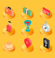 traveling color isometric icons vector image