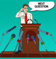 pop art business man giving press conference vector image