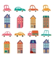 Cute city collection with houses and cars vector image vector image