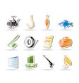 simple fishing and holiday icons vector image