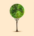 green tree abstract geometric design vector image