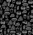 Seamless pattern background fast food vector image