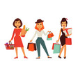 shopping template poster with three women holding vector image