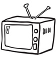 simple black and white retro tv vector image