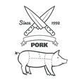 Vintage butcher cuts of pork menu chalk vector image