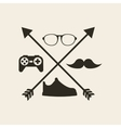 hipster style set icons vector image vector image