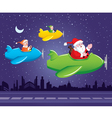 Santa and Elf in Aeroplane vector image