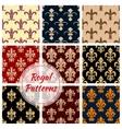 Fleur-de-lys french royal seamless pattern set vector image