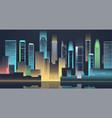 night city skyline with neon lights modern city vector image