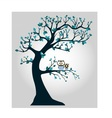 Tree with branches and owl vector image