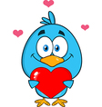 Cute Bird Holding a Love Heart Cartoon vector image vector image