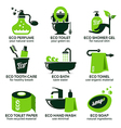 flat icon set for green eco bathroom vector image