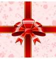 Red bow with ribbons background vector image