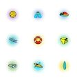 Active water sport icons set pop-art style vector image