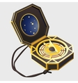 Ancient compass in a box navigation tool closeup vector image
