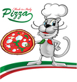 chef cat cartoon with pizza vector image