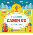 Expedition adventure - icons in flat style vector image