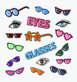 eyeglasses doodle with sunglasses and eyes vector image