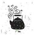 I love tea with lettering Black tea pot wit vector image