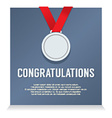 Silver Medal With Congratulations Card vector image