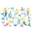 underwater life collection mermaid sea animals vector image