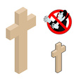 Wood cross crucifix against vampires Ban Dracula vector image