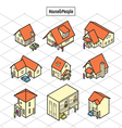 litle house and people vector image