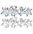 snowmen dance vector image