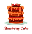 Cartoon cake with cream and strawberry vector image