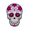 day of the dead skull sugar flower tattoo vector image