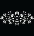 European folk floral pattern in in white on black vector image