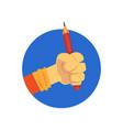 hand holding pencil cartoon vector image